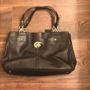 Coach bag, two handle real black leather